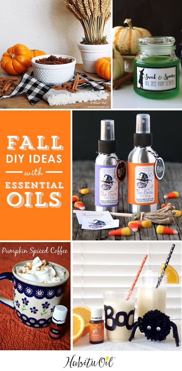 5 Fall DIY Ideas with Essential Oils! Halloween gift ideas and amazing Pumpkin recipes.
