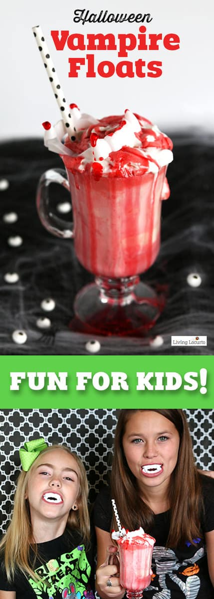 Halloween Vampire Ice Cream Floats! An easy Halloween recipe idea for kids! A perfect treat for a Halloween party.