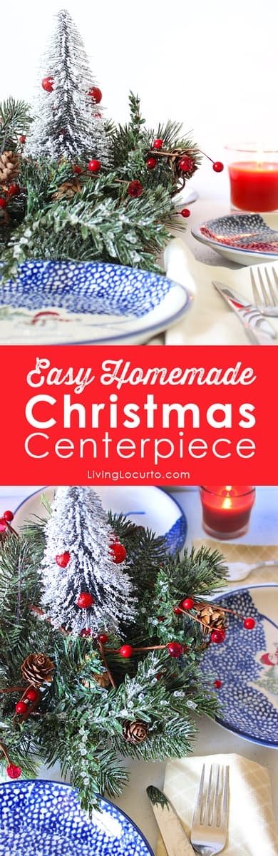 Mini Christmas Tree Centerpiece DIY craft. Simple Homemade Holiday table decor you can make in minutes!