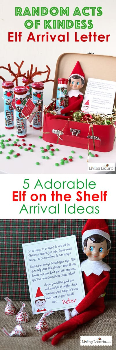 Creative Elf on the Shelf Arrival Ideas! Unique printables and cute elf ideas direct from the North Pole to wow your kids. Random Acts of Kindness, arrival letters from Santa and more! #christmas #elf #elfontheshelf #kids #printables