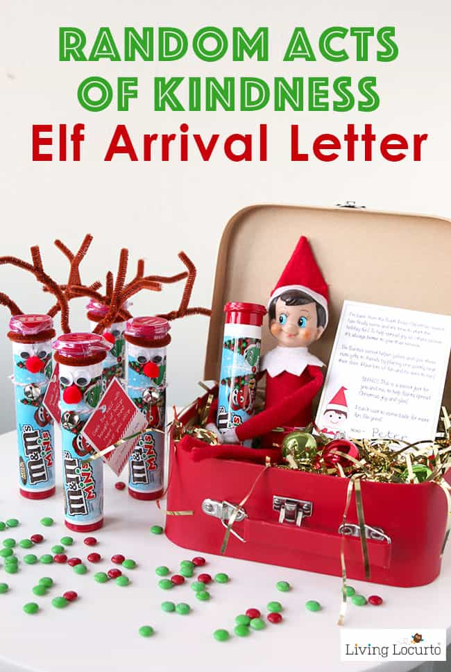 Random Acts of Kindness Elf Arrival Letter and printable gift ideas for your Christmas Elf. Encourages kids to give back and be Secret Santa. LivingLocurto.com