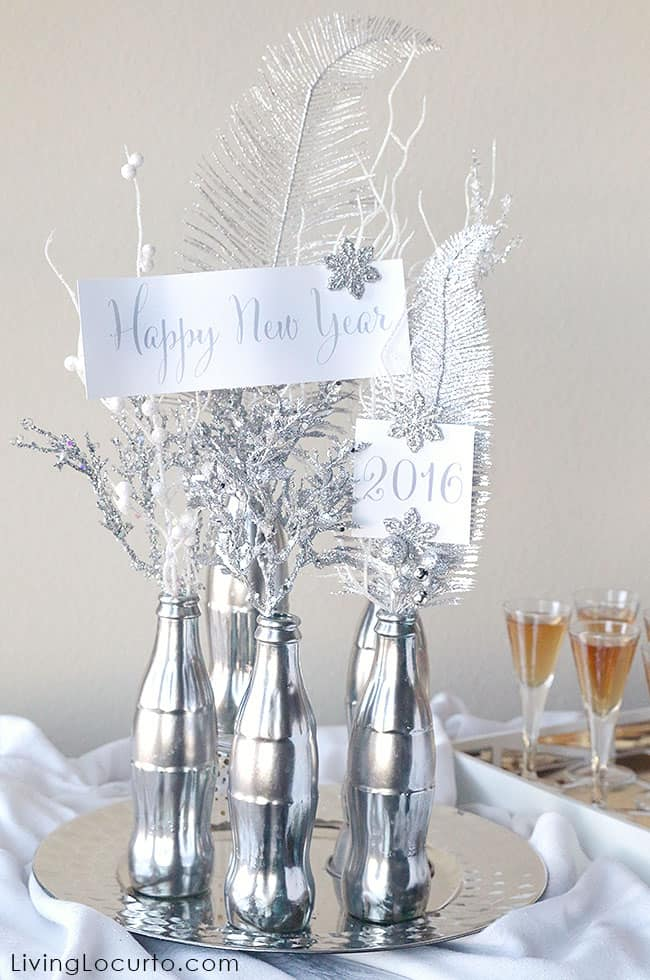 How to Make a Mercury Glass Coke Bottle Centerpiece. Easy DIY Craft with Free Printables for a 2016 New Year's Eve Party!