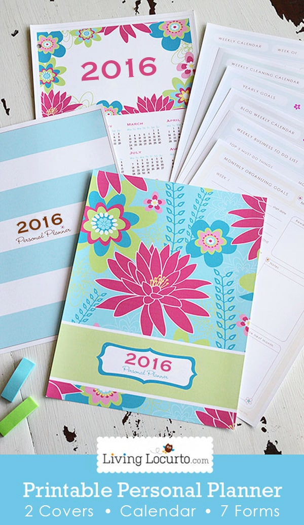 Get your life organized! A Printable Personal Planner with 2016 Calendar and 7 life organizational sheets. Cleaning calendar, blog calendar, Grocery List, To-do lists and more! LivingLocurto.com