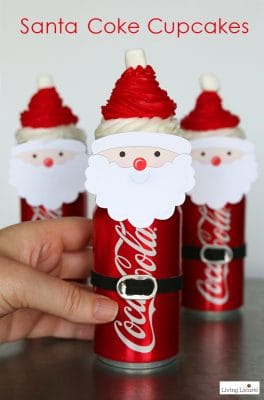 Santa Cupcakes with Mini Coke Cans