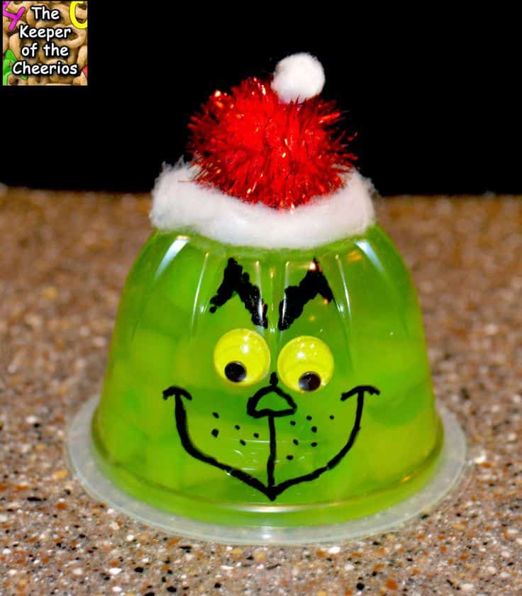 Grinch jello treat. The Grinch Christmas Treats! Adorable fun food ideas for your next Holiday party. Grinch cakes, popcorn, cocktails and school snacks.
