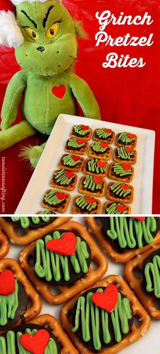 Grinch pretzel bites. Fruit Kebobs - The Grinch Popcorn - The Grinch Christmas Treats! Adorable fun food ideas for your next Holiday party. Grinch cakes, popcorn, cocktails and school snacks.