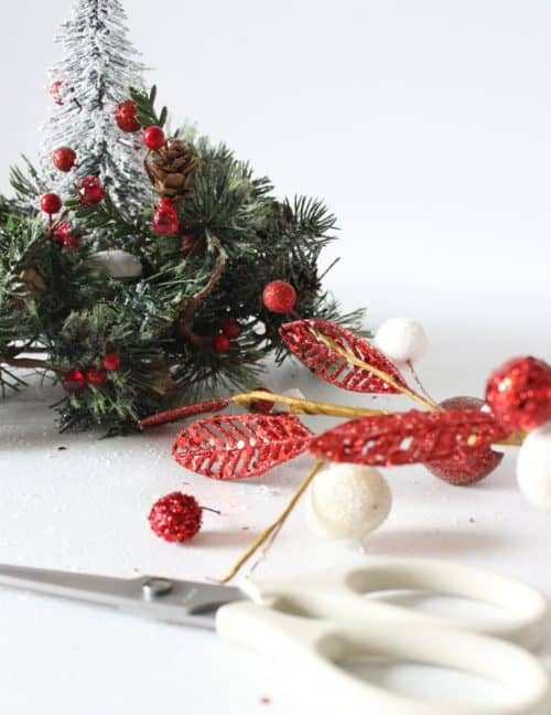 Mini Christmas Tree Centerpiece DIY craft. Simple Holiday table decor you can make in minutes!