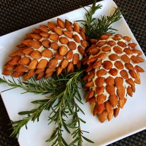 Pinecone Cheeseball Appetizer with Almonds. Fun and Easy Christmas Party Appetizer