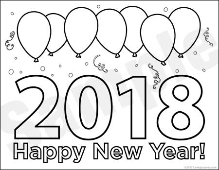 2018 New Year 39 s Eve Party Printables Free Coloring Sheet
