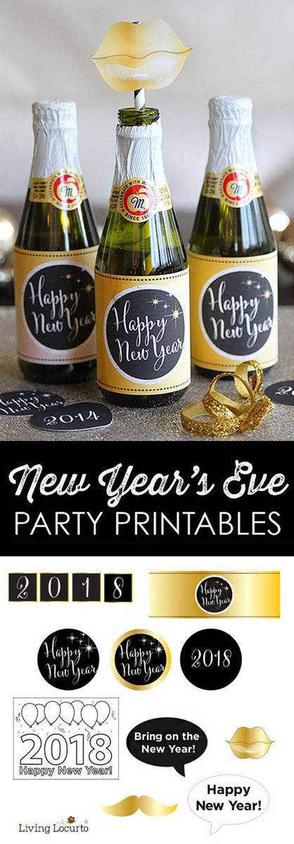 2018 new years eve party printables print gold and black photo props bottle labels