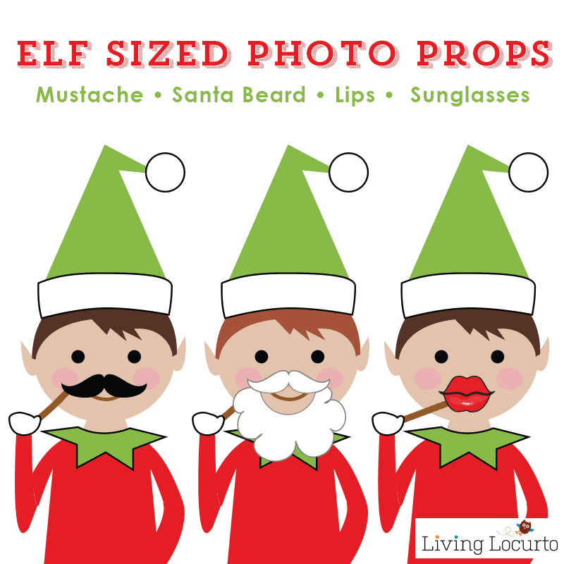 Elf Sized Photo Props! A fun Elf Photo Booth idea. Mini Santa Beard, Lips and Mustache Photo Booth Props. Party Printables. Grab your Elf, Barbie and camera for a party!