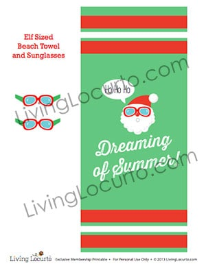 Elf Sized Beach Towel and Sunglasses Printable for a Christmas Elf.