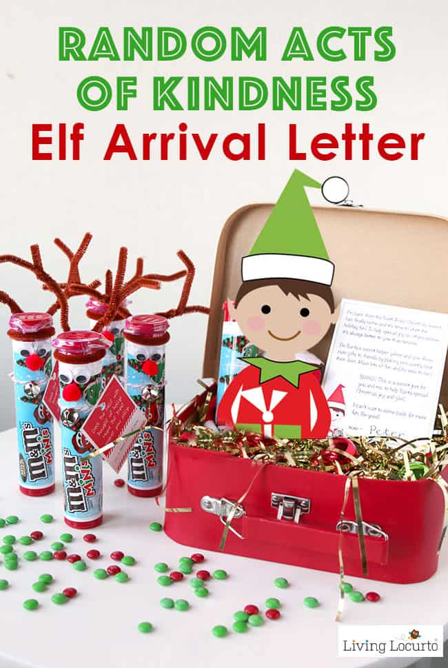 Random Acts of Kindness Elf Arrival Letter and gift ideas for your Christmas Elf. Encourages kids to give back and be Secret Santa.