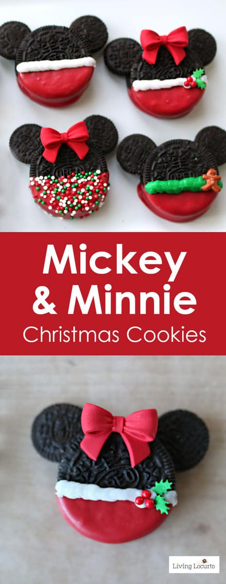 Adorable No Bake Mickey and Minnie Mouse Christmas Cookies made with Oreos. Fun Disney themed holiday cookies for a party, gifts or cookie exchange.