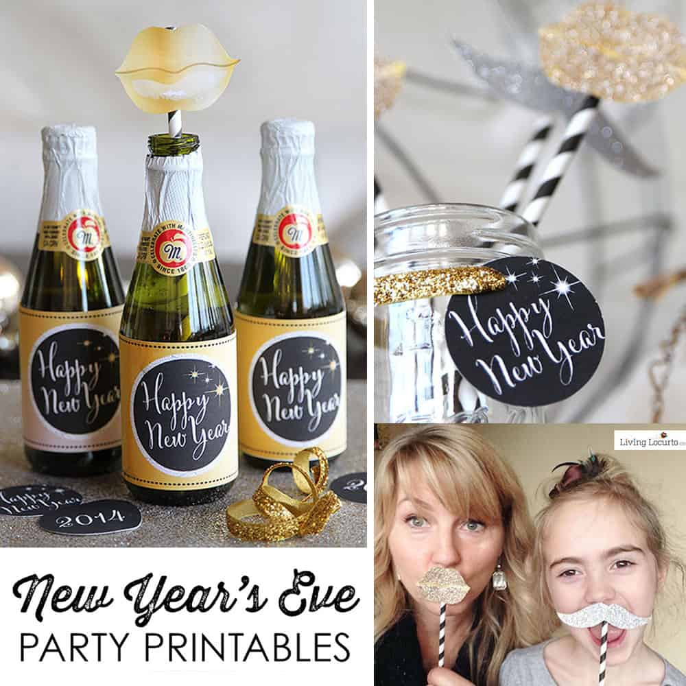 gold and black new years eve party printables cute photo props bottle labels