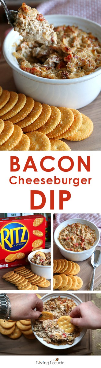 Easy and Delicious Bacon Cheeseburger Dip! It's super addictive, watch out… you might end up eating the whole bowl of dip yourself! Perfect recipe for watching football or taking to your next party. LivingLocurto.com