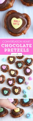 Conversation Heart Chocolate Pretzels are perfect for Valentine's Day school parties or gifts!Kids will love picking out their favorite candy saying.