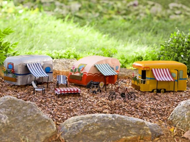 Miniature fairy garden campers. So cute!