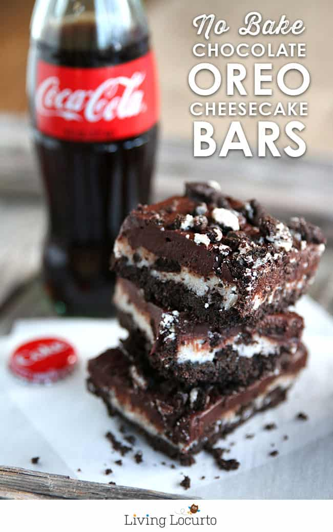 No Bake Chocolate OREO Cheesecake Bars are an irresistible, melt-in-your mouth chocolate dessert recipe! LivingLocurto.com