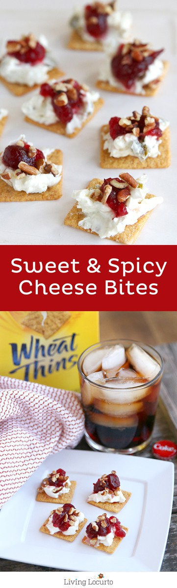 Sweet and Spicy Cheese Bites are a fast and easy appetizer recipe. Your mouth will be doing a happy dance after you eat this snack full of cheesy flavors, spicy peppers, sweet sauce and a nutty topping. They are always a fan favorite cracker snack! LivingLocurto.com