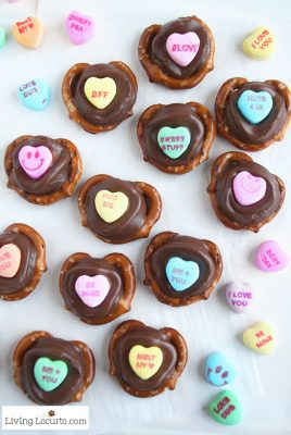 Conversation Heart Chocolate Pretzels are an easy dessert for Valentine's Day school parties or gifts! Kids will love picking out their favorite candy saying.