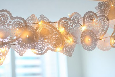 Doily Heart Garland - DIY Home Decoration Ideas for Valentine's Day. Easy to make Home Decor Crafts for Valentine's Day. Homemade Valentines ideas for mantle decorating, party tables, yard art, heart garland, valentine trees, kids rooms and more! LivingLocurto.com