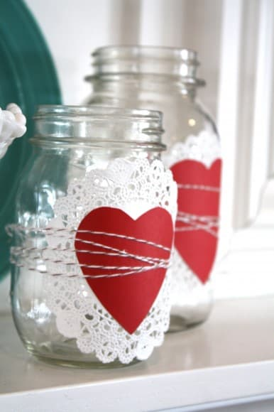 Valentines Day Doily Mason Jars   Card Garland   DIY Home Decoration Ideas  For Valentineu0027s Day