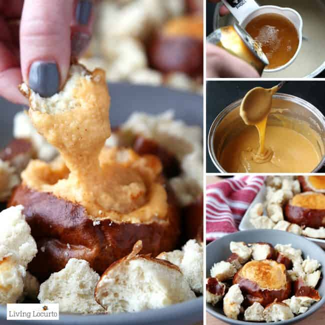Hot Beer Cheese Dip in individual pretzelbread bowls. A crowd pleasing appetizer recipe for any party! With a little spicy kick, these Hot Beer Cheese Dip Pretzel Bread Bowls are perfect snacks for game day, a birthday party or happy hour with friends. LivingLocurto.com