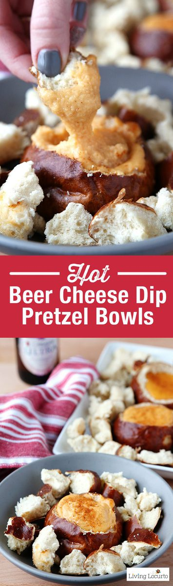 Hot Beer Cheese Dip in individual pretzel bread bowls. A crowd pleasing appetizer recipe for any party! With a little spicy kick, these Hot Beer Cheese Dip Pretzel Bread Bowls are perfect snacks for game day, a birthday party or happy hour with friends. Serve the cheese dip in a crock pot slow cooker along side of vegetables, pretzels or any other kind of bread. A mini pretzel bread bowl is a perfect way to eat Beer Cheese Dip because you don't have to worry about double dipping! LivingLocurto.com