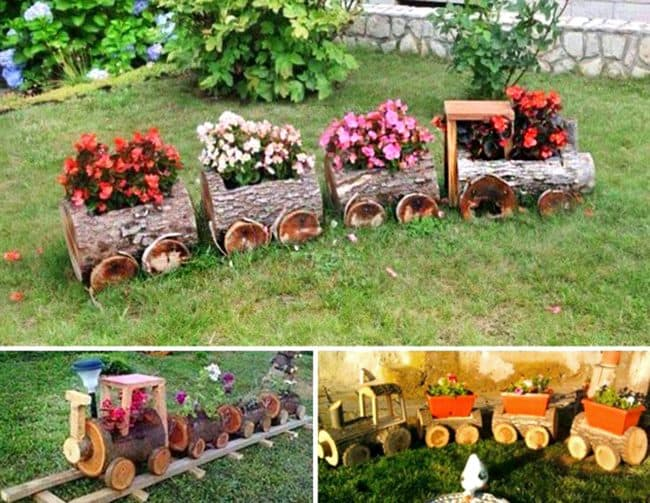 log train flower pots creative ways to add color and joy to a garden - Flower Garden Ideas In Pots