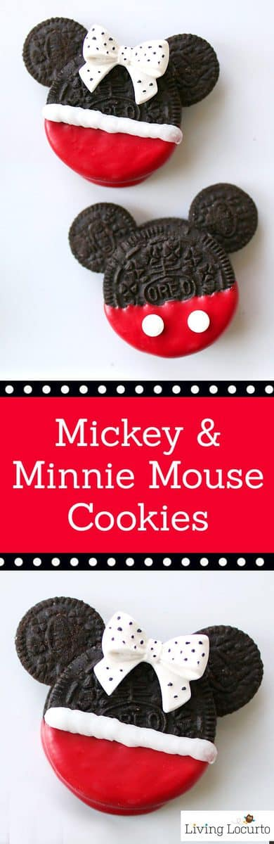 Cute Disney No-Bake Cookies! Mickey & Minnie Mouse Oreo Cookies are perfect for a Disney Birthday Party or to celebrate a trip to a Disney theme park.