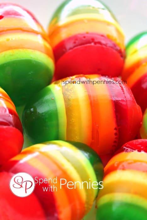 Rainbow Striped Jello Easter Eggs