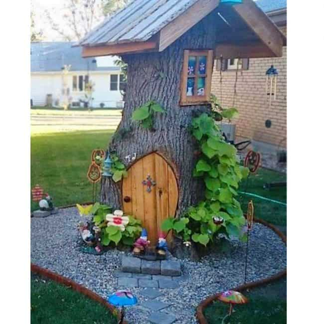 Tree Stump Fairy And Gnome House! Creative Ways To Add Color And Joy To A