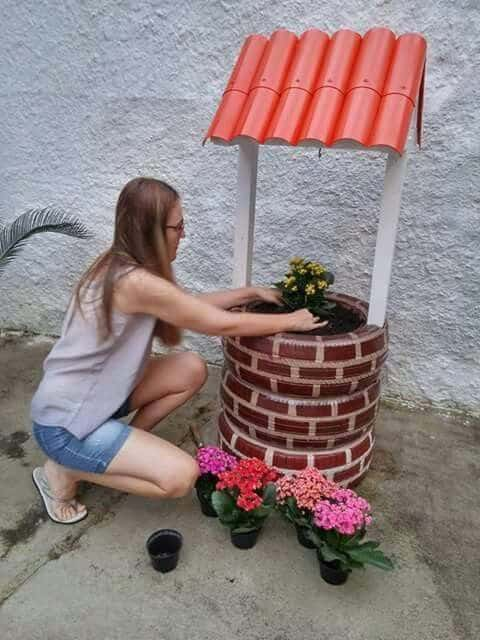 Diy yard art and garden ideas homemade outdoor crafts wishing well garden art creative ways to add color and joy to a garden make a wishing well planter from old tires what a cute diy solutioingenieria Images