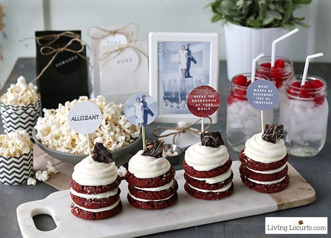 Fun Allegiant Party Ideas perfect for Divergent movie fans! Simple Red Velvet Stacked Cookie Cakes Recipe and Free Party Printables. LivingLocurto.com