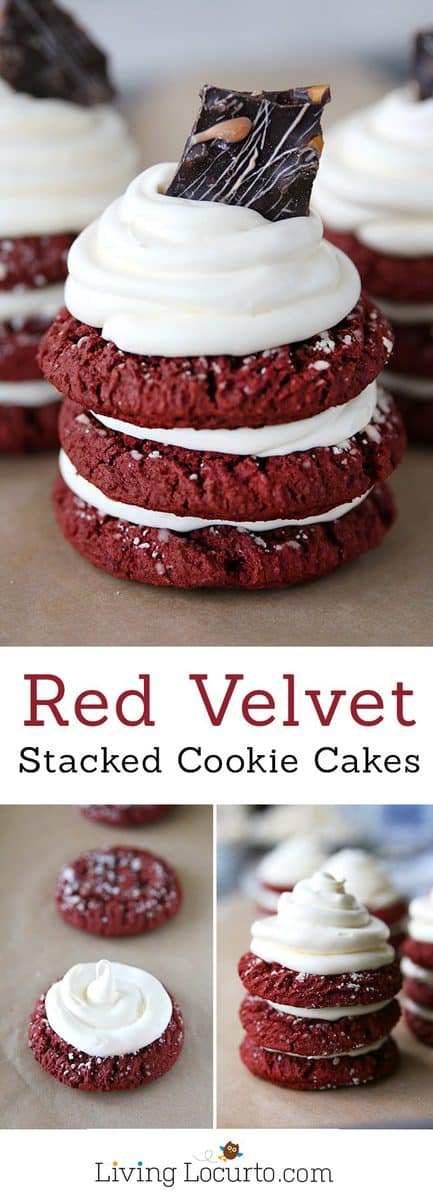 How to make Red Velvet Stacked Cookie Cakes! A simple recipe that makes a big impression. Anyone who loves red velvet cake with cream cheese frosting will love this fun party idea! LivingLocurto.com