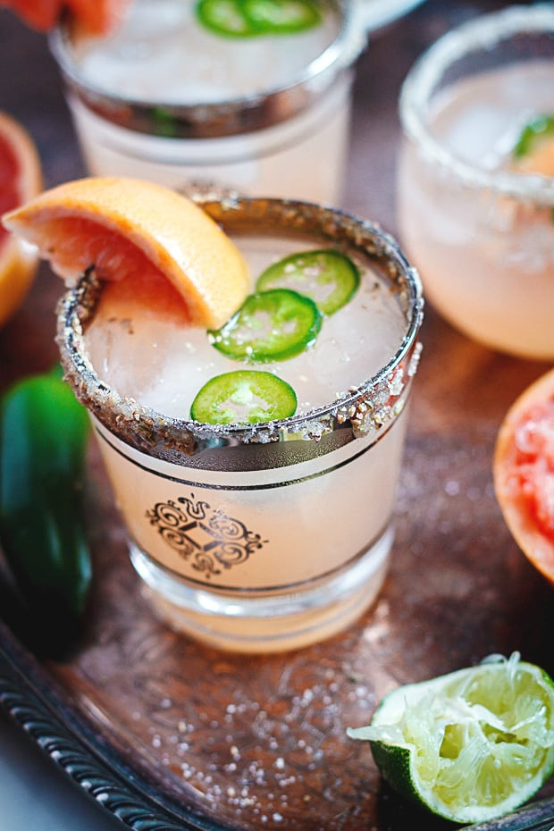 Spicy Grapefruit Margaritas! The Best Margarita Recipes ever! From Strawberry and Blackberry to Pineapple and Coconut, you'll find a frozen cocktail perfect for party drink or a hot summer day! LivingLocurto.com