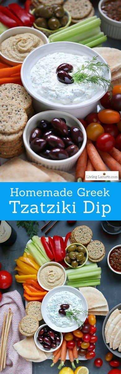 Traditional Greek Tzatziki dip recipe and fresh vegetable tray platter. Pair sauce with chicken or lamb meat. Greek yogurt and cucumber sauce veggie tray.