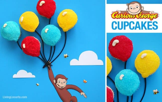 How to make the cutest Curious George Balloon Cupcakes! Click to get the recipe directions and free printable monkey to prepare this adorable cake party idea for your birthday or school class party table. Cute fun food Curious George party idea for kids! LivingLocurto.com