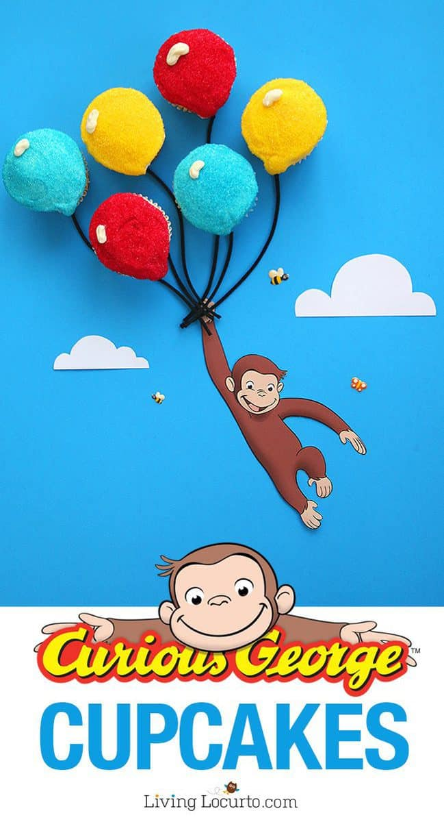 How to make the cutest Curious George Cupcakes! Balloon birthday cake recipe.