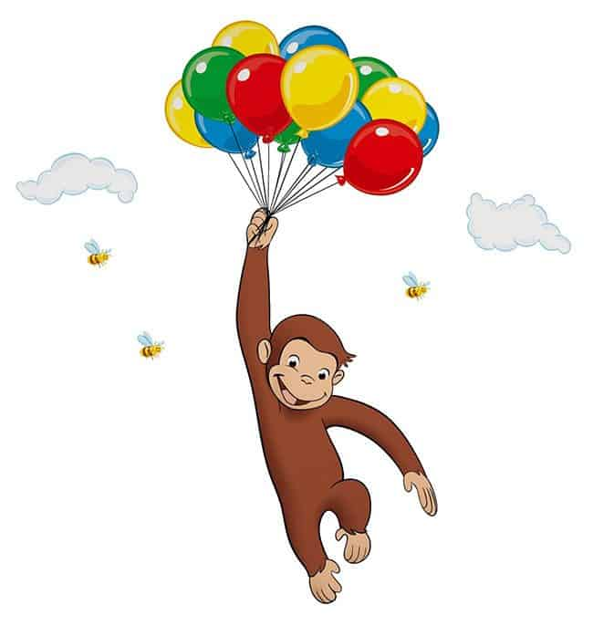 Recipe, directions and free printable monkey to prepare adorable Curious George Balloon Cupcakes. Kids birthday cake idea. Fun Food school class party.