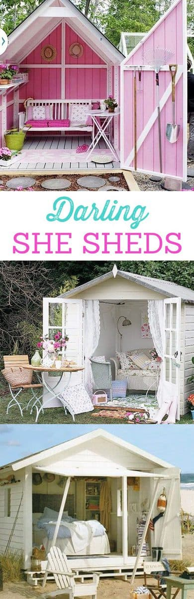 The most beautiful She Sheds for every girl! Dream homes and small work areas for women. The most darling, charming, and fun backyard sheds for women.