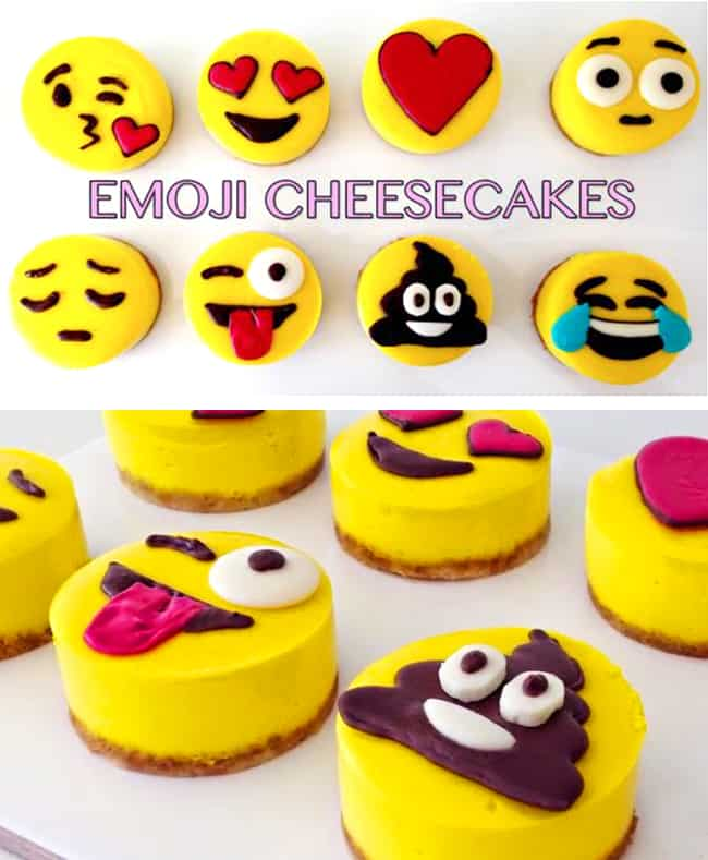Emoji Cheesecakes - Best Emoji cake ideas and dessert inspiration for an Emoji Party. From birthday and graduation parties to school events, an emoji party theme is fun for all! LivingLocurto.com
