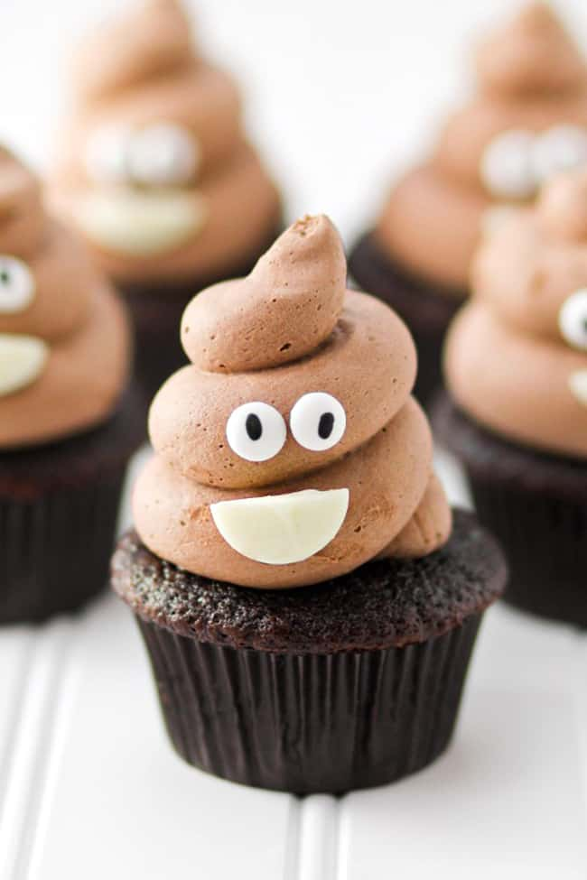 Poop Emoji Chocolate Cupcakes