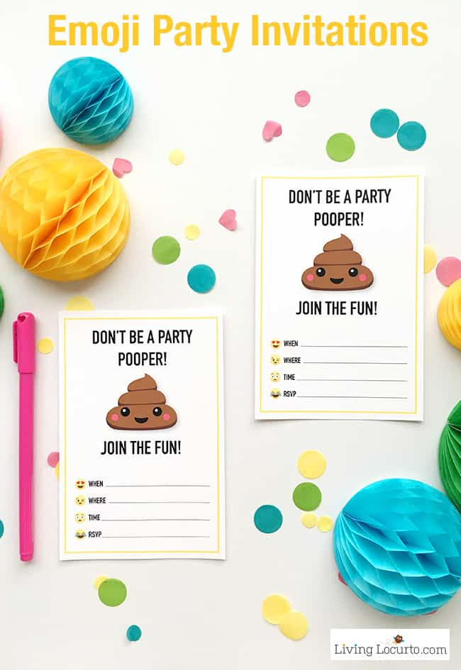 Emoji Party Ideas! Colorful  Emoji Poop Invitations, Tags and Gift Wrap. Emoji birthday party fun. ~ LivingLocurto.com