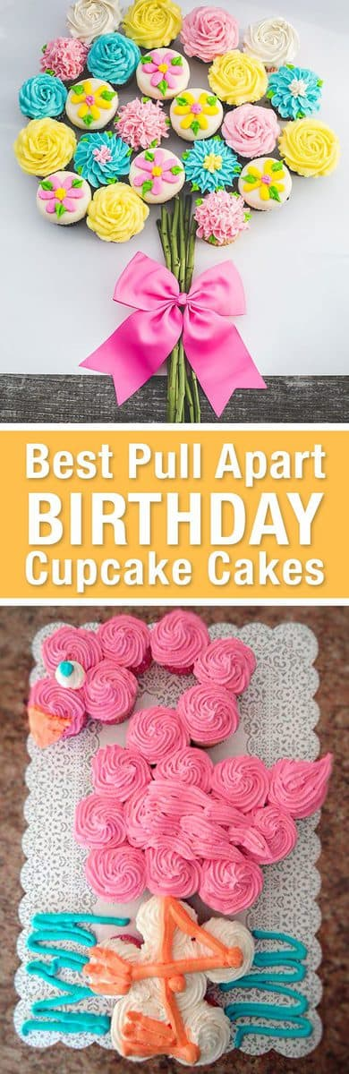 Best Birthday Pull Apart Cupcake Cakes. Simple creative cake inspiration for a birthday party celebration. LivingLocurto.com