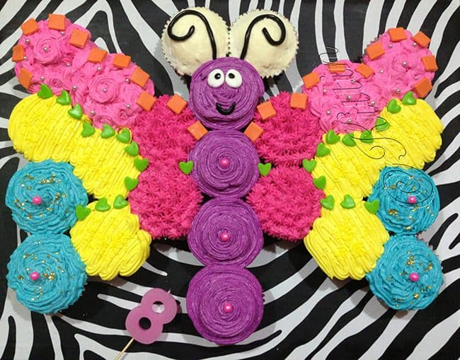 Butterfly - Best Birthday Pull Apart Cupcake Cakes. Simple creative cake inspiration for a birthday party celebration.