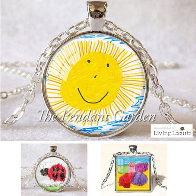 Make a Custom Necklace from your child's art. Cute gift idea!