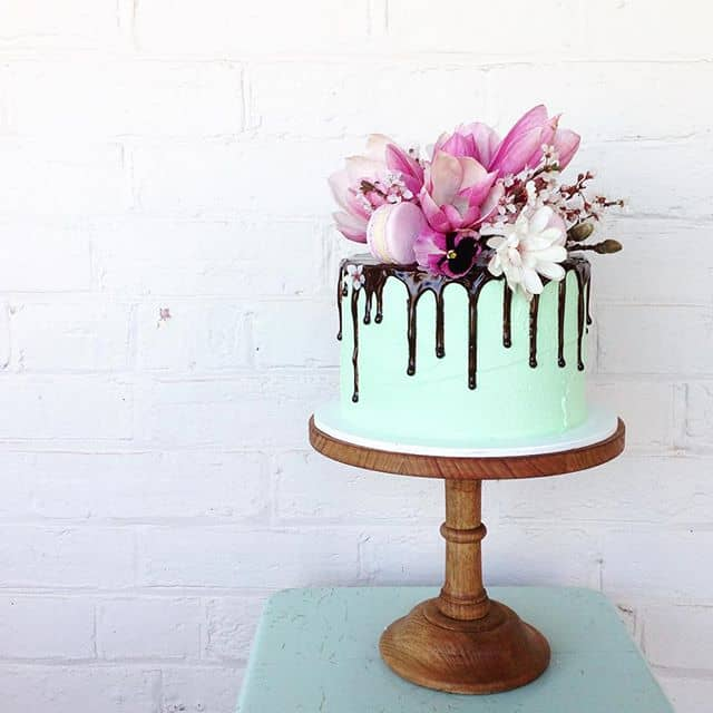 Chocolate Cake With Green Icing And Drizzle Topped Magnolias By Mudgee Made
