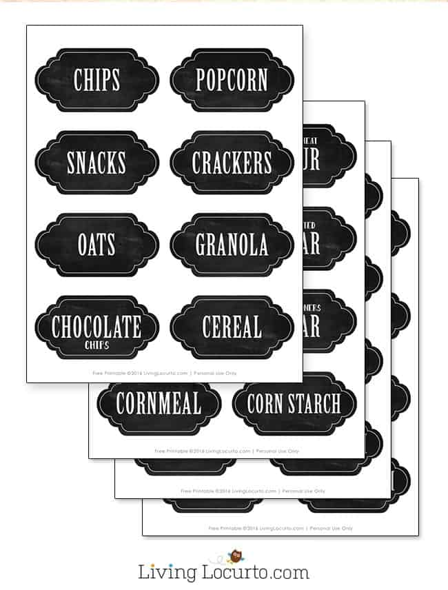 graphic relating to Printable Chalkboard Labels identified as Kitchen area Pantry Company Plans Absolutely free Printable Labels